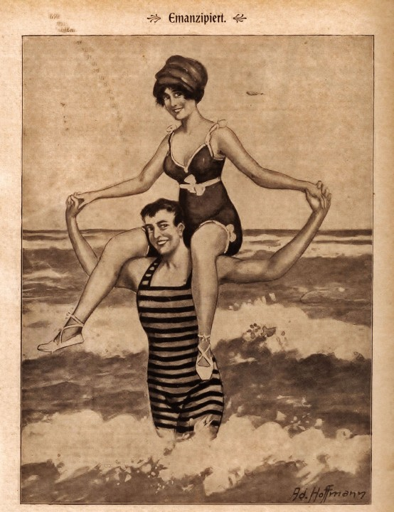 Emanzipiert. Illustration von Ad. Hoffmann, aus: Lustige Welt, 1913