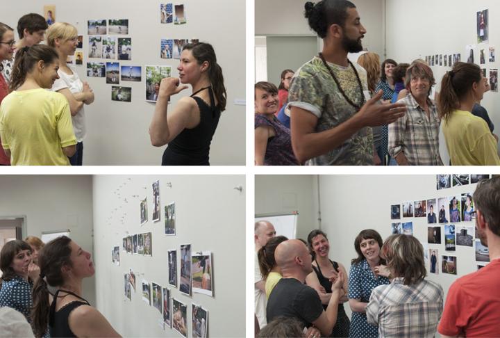 """Foto 1: Seminar """"Langzeitporträt"""". Sibylle Fendt mit Teilnehmerinnen, Foto 2-4: """"Großbesprechung"""" der beiden Seminare Fendt und Schröder, Alle Fotos: Bernhard Tietz"""