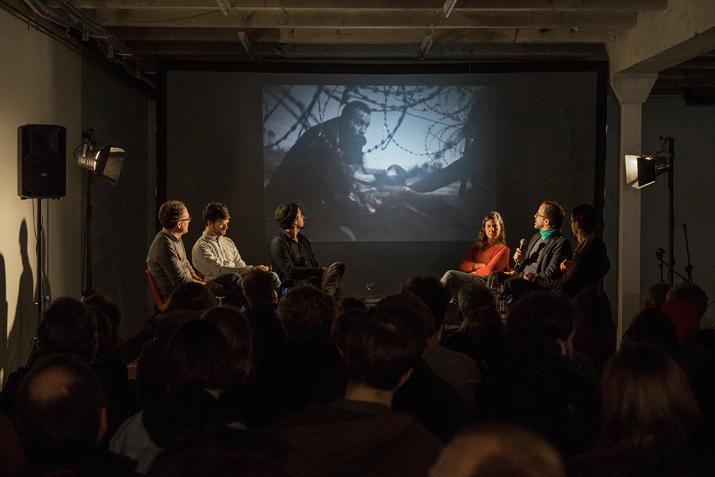 Podiumsdiskussion: Sean Gallup (Getty), Jörg Brüggemann (Ostkreuz), Kai Löffelbein (Freier Fotograf), Sibylle Fendt (Ostkreuz), Lars Lindemann (Fotochef GEO) und Georg Díez (DER SPIEGEL)