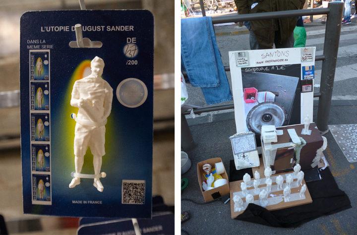 """""""L'Utopie d'August Sander"""", links Ausstellungsansicht Arles 2019 (Foto: Robert Rausch), rechts: Flohmarkt © Mohamed Bourouissa"""