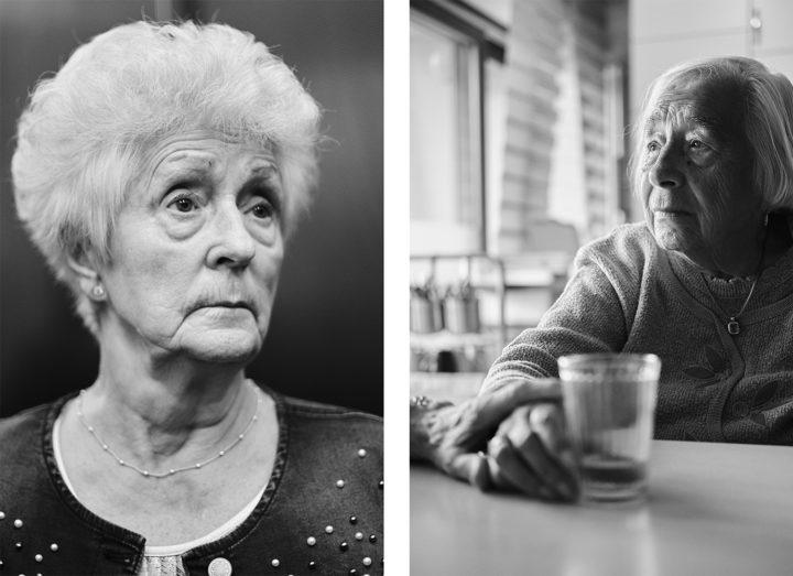 """links: Frau Röhr auf dem Weg zu Ihrer Freiwilligentätigkeit, rechts: Frau Röhr hält Frau Philipps Hand, © Henry Schulz aus der Serie """"Freiwillige"""""""